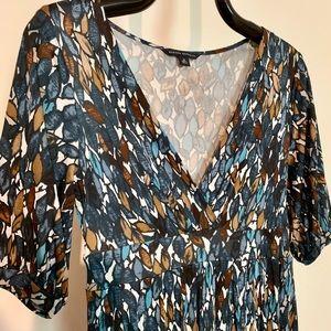 BR Silk Leaf-Print Crossover Dress M